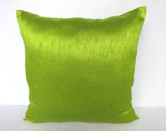 Lime Green pillow cover made with art silk fabric. Erow shme 26x26 custom made .Available in many colour's