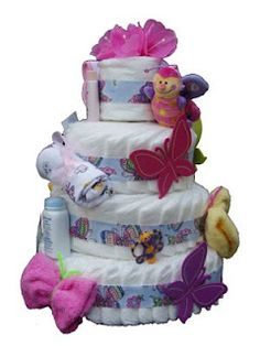 Alexander's Playroom: Butterfly Wash Cloths for diaper cakes and gift baskets