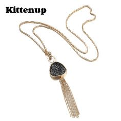 Kittenup Tassel Statement Chain Necklace & Pendant for Women Black Imitation Stone Resin Gold Plated Fashion Jewelry