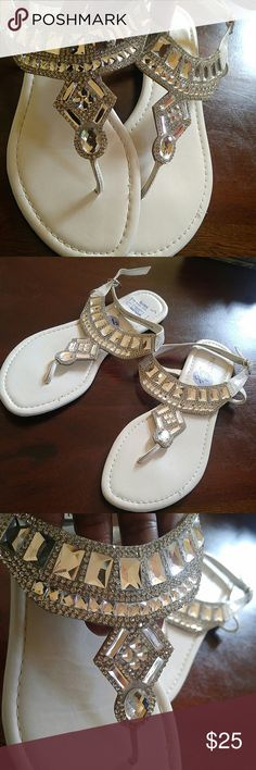 White Bling Sandals BLING BLING Flats 8.5 White Blinged Out Sandals. Never Worn Label: Madeline Stuart Size 8.5 Madeline Stuart Shoes Sandals