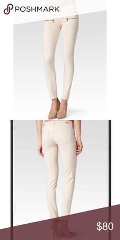 NWT Paige Indio Zip Beige colored skinny 5 pocket jeans with two faux zipper front pockets. Paige Jeans Jeans Skinny