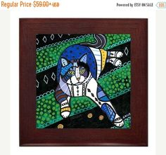 50% Flash Sale- Cat Garden Folk Art Ceramic Framed Tile by Heather Galler - Tabby Cats Lover Ready To Hang Tile Frame Gift Birthday Sovenir