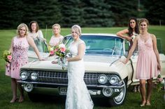 Silver Lining Photography  #wedding #photography #vintage #car #cadillac #bride #bridalparty #bridesmaids #groupphoto #Michigan #ladies #girls #dresses