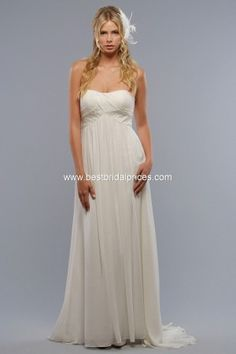 Various Of Chiffon Strapless Sweetheart Shirred Bodice Column Wedding Dress  At Discount a52a00d9fd63
