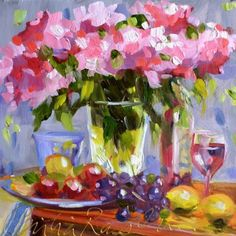 PINK ROSES, painting by artist CECILIA ROSSLEE