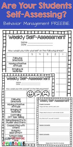 Looking to improve student behavior? Check out this Weekly Self-Assessment where the students take responsibilty for reporting behavior.