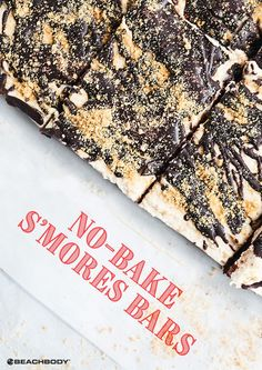 Made with real graham crackers, these toasty No-Bake S'mores Bars are satisfying Shakeology treats that taste like they just came off the campfire. Healthy Dessert Recipes, Healthy Treats, Healthy Food, Smores Bar Recipe, Shakeology Mug Cake, Baked Smores, Smores Cake, Recipe 21, Sweet Spice