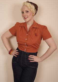 Rust Work Blouse