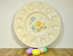 Vintage Deviled Egg Plate Produced by Treasure Craft Made in the USA 12 Inch Platter