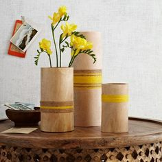 Twine-Wrapped Wood Vases from west elm