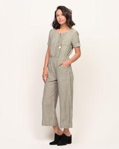 Pepper Place Design | Fall Jumpsuit | Nursing Friendly | On Set Striped Culotte Linen Jumpsuit