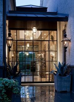 Steel framed modern windows - Minimal - Would look great combined with more rustic and traditional exterior walls - Great breezeway btwn garage and house. Steel Doors And Windows, The Doors, Entry Doors, Entry Foyer, Sliding Doors, Interior Exterior, Exterior Design, Wall Exterior, Door Design