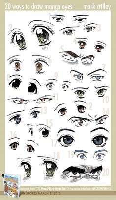 Manga Drawing Tips 20 Ways to Draw Manga Eyes by ~markcrilley on deviantART - Drawing Lessons, Drawing Techniques, Drawing Tips, Drawing Sketches, Art Drawings, Sketching, Drawing Skills, Pencil Drawings, Drawing Ideas