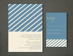 Striped Wedding Invitation & RSVP