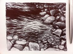"""Water Under The Bridge, 2013 Ballpoint on paper 4""""x5"""" SOLD Water Under The Bridge, Ballpoint Pen Drawing, Small Drawings, Texture, Paper, Wood, Crafts, Surface Finish, Pen Drawings"""