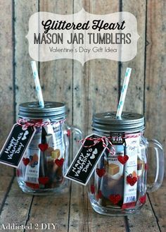 Glittered Heart Mason Jar Tumblers | How To Make Easy Valentine's Day Gift Ideas