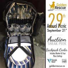 We have so many wonderful items up for auction at this year's Golden Rescue Picnic! This awesome item was generously donated by Julie Hendren. This beautiful Picnic Backpack includes: Service for four people, corkscrew, cutting board, cheese knife, acrylic wine glasses, plates, flatware, cotton napkins and grey fleece blanket. The wine holder is detachable and has a thermal shield insulated cooler compartment to keep food and wine at the perfect temperature! The backpack straps are also… Picnic Backpack, Backpack Straps, Acrylic Wine Glasses, Cheese Knife, Cotton Napkins, Cool Backpacks, Cool Items, Wine Recipes, Flatware
