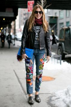 Dani Stahl gets the award for coolest denim - Street Style at New York Fashion Week #NYFW