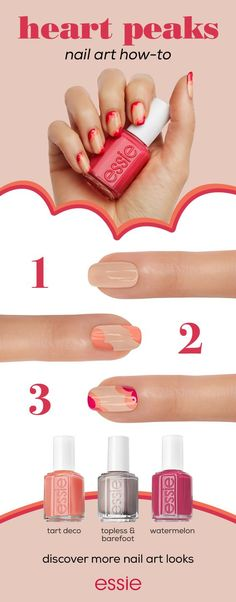 Spread the love to your fingertips with this nail art design from essie. Get the look with these three shades -- topless & barefoot, tart deco and watermelon. Discover more nail art looks at essie.com