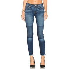 Hudson Jeans Nico Mid Rise Ankle Skinny (142.325 CLP) ❤ liked on Polyvore featuring jeans, faded blue skinny jeans, mid-rise jeans, frayed jeans, faded blue jeans and blue jeans
