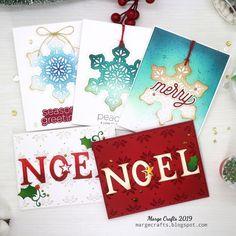 Last minute Christmas Cards Shimmer Snowflake DieCember Marge Yoon Die Cut Christmas Cards, Christmas Settings, Red Jewel, Dark Ink, Glitter Cardstock, Holly Leaf, Die Cut Cards, Christmas Inspiration, Simple Designs