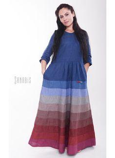 Платья ручной работы. Ярмарка Мастеров - ручная работа. Купить Платье из льна «Поднебесное». Handmade. Тёмно-синий, платье в пол