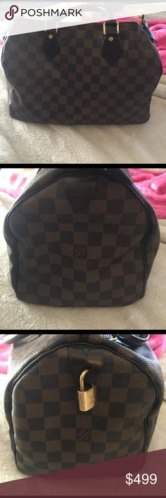 Speedy medium BEAUTIFUL STAPLE!! perfect for any season, any occasion!! Outside great condition. Ink Steins inside. Upload more pictures soon. Authentic purse, Been professionally verified. DATE CODE: SP1026. Cheaper because posh takes longer to release funds once items are over $500. Tiny mark on outside I just noticed, in additional pictures. Just purchased new style, so don't need this. Price firm, same day/next day shipping. 🤗 Bags Satchels