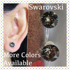 Swarovski Black Diamond Rhinestone Clip On Earrings C17s Bridal Wedding Earring