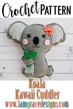 Our Koala crochet pattern & tutorial makes an adorable pillow for you or your favorite animal lover. Our koala crochet pattern is great for beginners and works up quickly. *This is a paid pattern Kawaii Crochet, Knit Or Crochet, Crochet Gifts, Crochet Motif, Crochet Toys, Easy Crochet, Crochet Baby, Free Crochet, Crochet Patterns Amigurumi