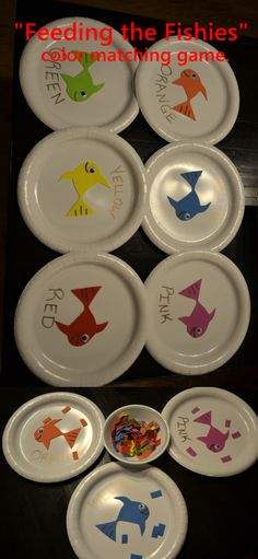 """Fun way to teach colors to toddlers. Need: Paper plates, foam, googly eyes, marker. Have child sort out the fish """"food""""!"""