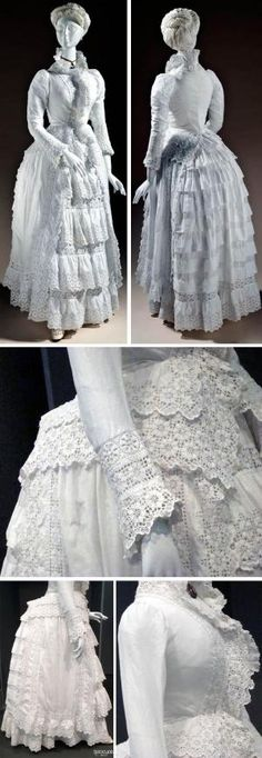 Dress, European, ca. 1885. Cotton plain weave with cotton cutwork embroidery (broderie anglaise) & cotton needle lace. Los Angeles County Museum of Art, Rebecca Thelin/Flickr, and thecourtesanblue/Flickr by oldrose