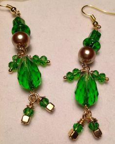 Leprechaun Earrings/St Patrick's Day Jewelry/Irish Earrings/Green Crystal Earrings/St Patrick's Day Earrings/Lucky Leprechaun from my Etsy shop https://www.etsy.com/listing/249314259/leprechaun-earringsst-patricks-day