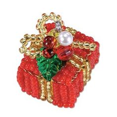 Seed Bead Kit, Christmas Bead Kit, Miyuki Ornament Kit, Beading Supplies, Beaded Present Ornament Christmas Decoration Charm Kit UK Supplier