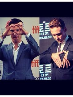 #benedictcumberbatch and #tomhiddleston trying to make hearts..