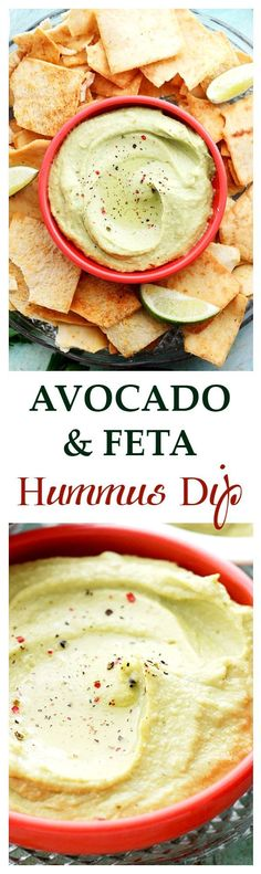 Avocado and Feta Hummus Dip ~ This snack has all your cravings covered! Cheese, guacamole, hummus - it's all there! Get the recipe on diethood.com