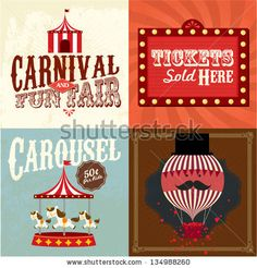 Vintage carnival/fun fair template vector/illustration by lyeyee, via ShutterStock