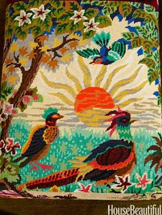 Intricate needlepoint pillow (Paul Smith) makes me want to try one after I finish tbe belt I'm working on