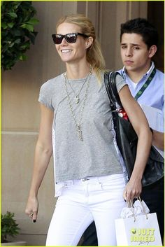 white jeans grey tee... perfection