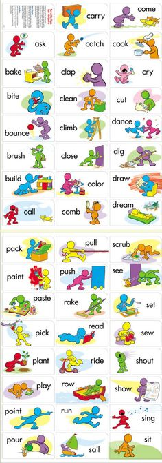 Printable verbs for flashcards / fluency in English vocabulary. Can be used for gamification to consolidate knowledge. English Time, English Verbs, Kids English, Learn English Words, English Study, English Lessons, English Grammar, Learn English Speaking, English Vocabulary Words