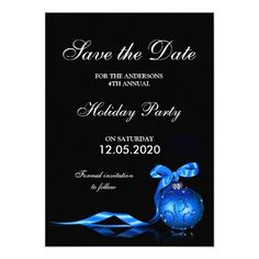 Formal Holiday Party Invitation Save The Date Cards. #ChristmasPartySaveTheDate #HolidayPartySaveTheDate #ChristmasPartyInvitations