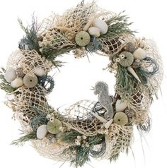 "Sea Horse Village Collection Blue 23"" Wreath"