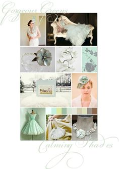 Eau de nil and seafoam green inspiration board...