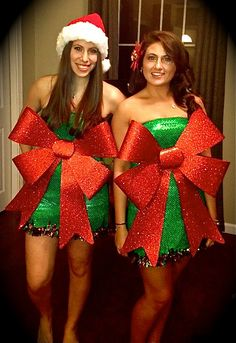 no sew present costume for the holidays...all you need are a pair of scissors and a stapler...cut slits in the back of the fabric and tie to fit body...staple garland to the bottom and tie the bow using extra fabric as a backwards belt