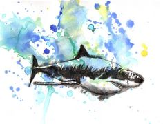 Great White Shark Animal Art Print From Original Watercolor Painting 8 x10 in. Great Baby Nursery Children Kids Wall Art and Everyone Else