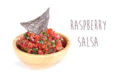 Raspberry Salsa ~~ 1c Fresh Raspberries ~ 1c Diced Plum Tomatoes ~ 1/8c Diced Red Onion ~ 1/8c Chopped Cilantro ~ 1 Sm Red Hot Pepper ~ 1/2 Lime Juiced ~ 1tbsp Agave Nectar ~ Salt to Taste