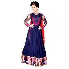 Party Wear Embroidered Georgette Blue Anarkali Salwar Suit -  EBSFSK302016 ( EBSFSK30 )