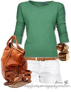"""Green 3/4 Sleeve Top"" by uniqueimage on Polyvore -- (cute, if the shorts were a little bit longer)"