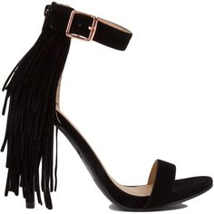 AKIRA Open Toe Layered Fringe Heels - Black ($35) ❤ liked on Polyvore featuring shoes, pumps, heels, black, open-toe pumps, high heel pumps, high heel platform pumps, strappy platform pumps and black platform pumps