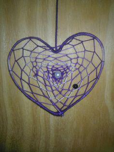 Atrapasueño violeta de corazón