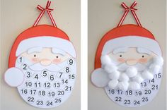 24 Christmas Crafts for Kids » Santa Advent calendar. By the time Christmas arrives, Santa has a full beard!